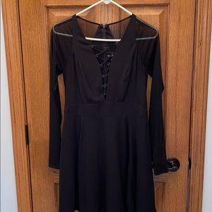 Black mesh express dress